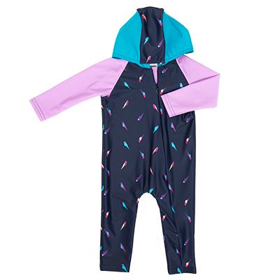 Baby Girls Hooded Swim Onsie UPF 50+  Mini Parrot with Orchid and Teal colour blocking. *also available in Boy's version; Mini Parrot/Hand Drawn Stripe. 3-24 months
