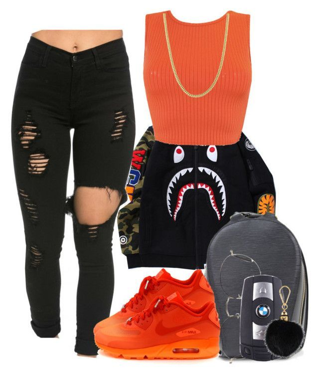 Bape Babe by trulydope ❤ liked on Polyvore featuring Louis Vuitton, Ray-Ban, Cartier, NIKE and BMW