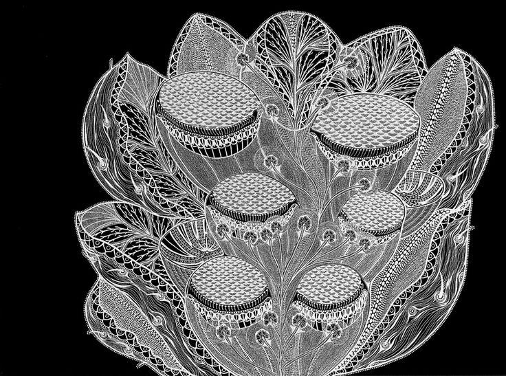 Mental Map #6   Landscapes & Mental Maps Series   Silver metallic ink on black paper   2006