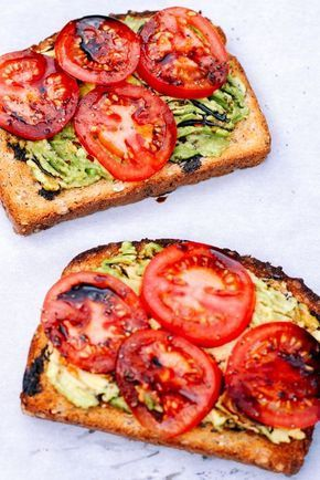 Toast mit Tomaten und Avocado mit Balsamico-Sirup #avocado #avocadotoast # …