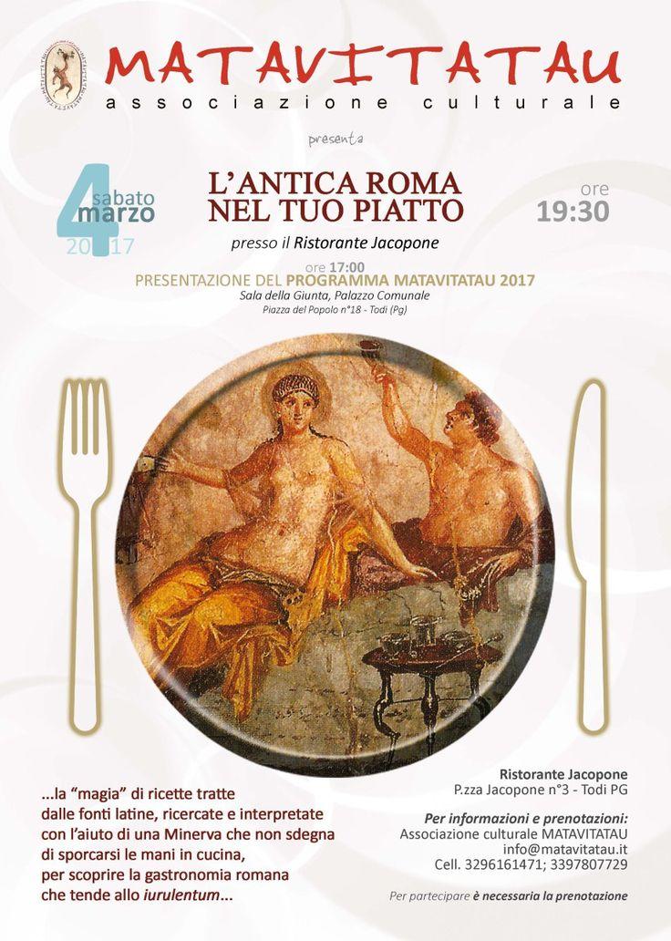 """Todi, Matavitatau. Serata conviviale a tema """"L'Antica Roma nel tuo piatto"""""""