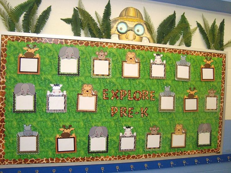 612 best preschool jungle images on pinterest classroom for Bulletin board organization