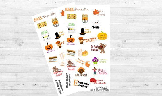 Otoño y Halloween cubo lista planificador pegatinas / / ideal para tu planificador de vida Erin Condren / / otoño planificador pegatinas