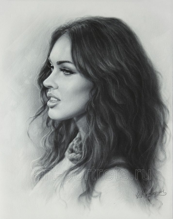Portrait drawing Megan Fox by Dry Brush by Drawing-Portraits.deviantart.com on @deviantART