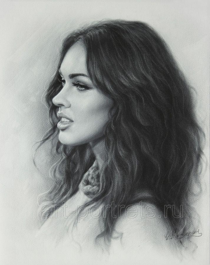 Portrait drawing Megan Fox by Dry Brush by Drawing-Portraits.deviantart.com on @deviantART