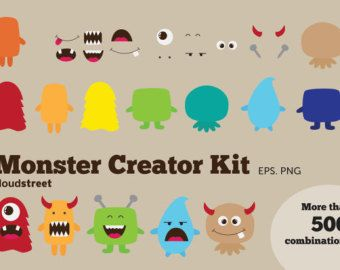 buy 2 get 1 free Cute Monsters Clipart for by cloudstreetlab