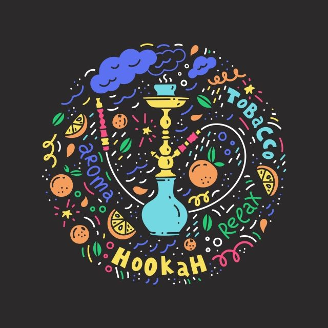 Abstract Circle With And Hookah For Bar And Tobacco Hookah Png
