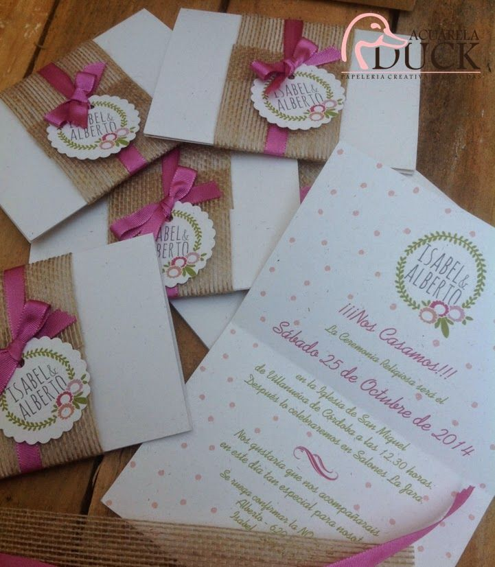Invitaciones de boda con tela de saco