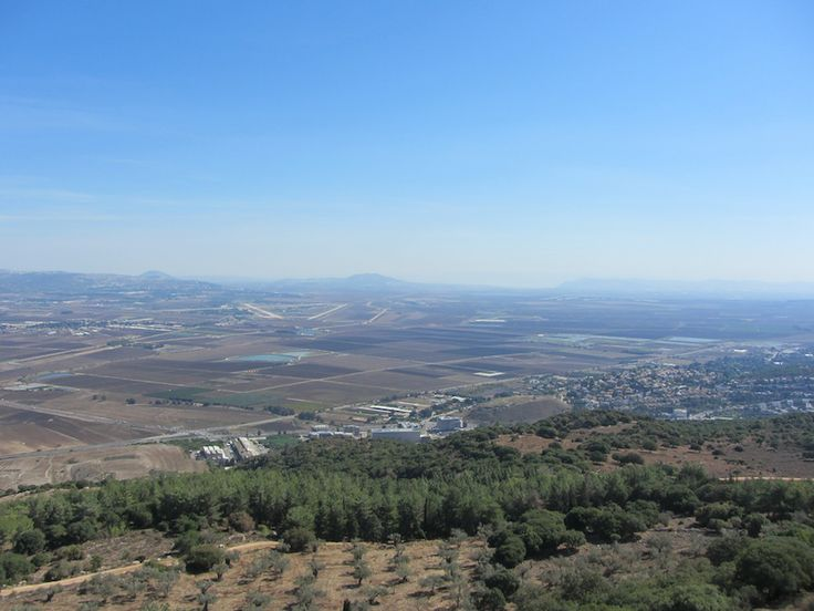 View towards the north-east, Yokneam, Gilboa Mountains and Mount Tabor