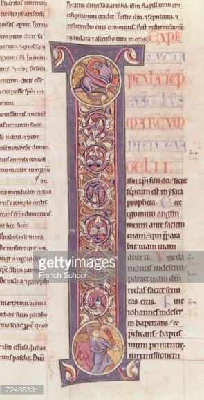 芸術 : The Gospel of St. Mark, from the Bible of the Monastery of Saint-Andre aux-Bois (vellum)