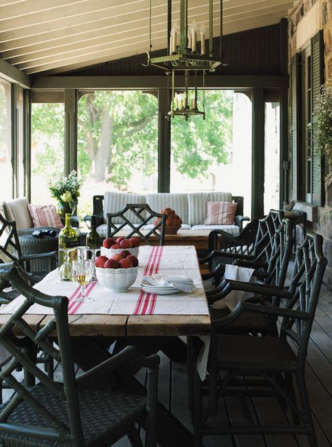 Enclosed Porch, Love The Chairs, Dark Walls, White Ceiling
