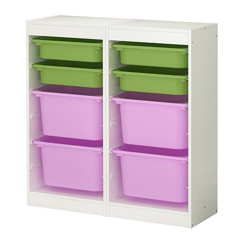 IKEA TROFAST Storage combination White/multicolour 92x30x94 cm A playful and sturdy storage series for storing and organising toys.
