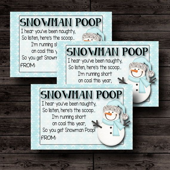 Silly Stocking Fillers! Snowman Poop  Free Printable Labels