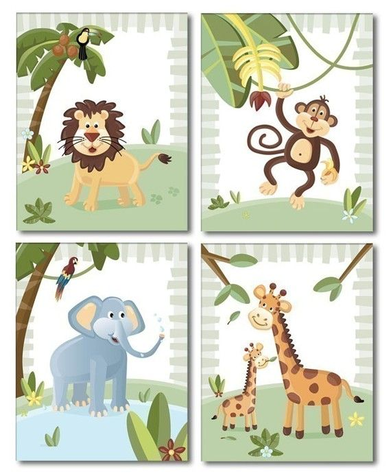 Jungle Animals / Set of 4 Art Prints for Nursery by smileywalls, $24.90