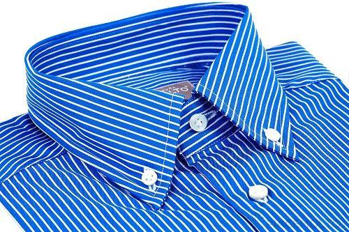 Camicia #SuperSartoriale™ realizzata in puro cotone #Popeline doppio ritorto 100/2 #WrinkeFree all season a righe Blue. Collo #ButtonDown  Crea la tua #CamiciaSuMisura ▶  http://www.piacemolto.com/it/camicie-uomo-su-misura-wrinkle-free-no-iron/174-camicie-sartroaili-su-misura-button-down-cotone-popeline-wrinkle-free-senza-pieghe-righe-blu.html