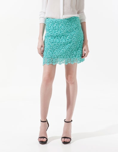 GUIPURE LACE MINI SKIRT - Skirts - Woman - ZARA United States