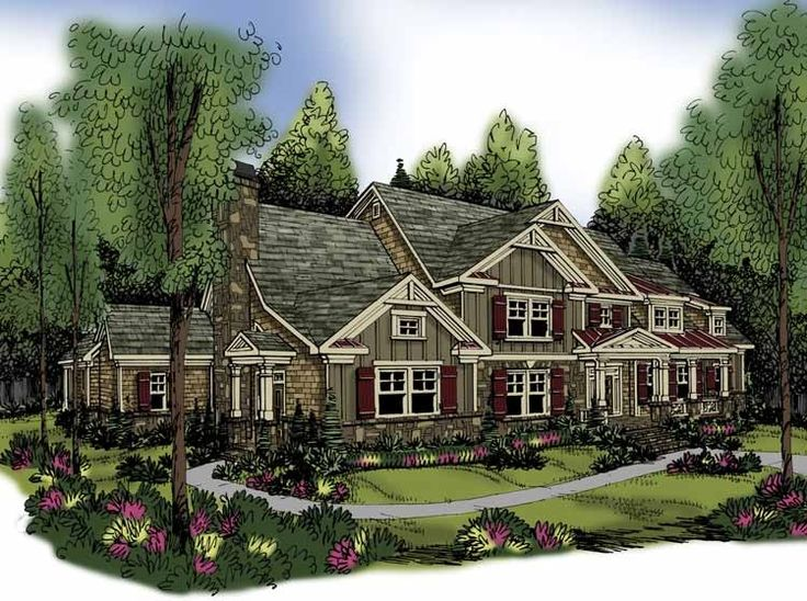 Craftsman House Plan with 4405 Square Feet and 5 Bedrooms from Dream Home Source | House Plan Code DHSW62898