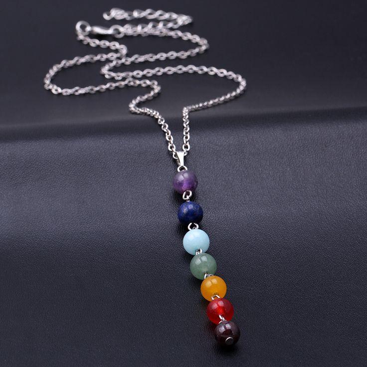 Collier #Vintage en pierre naturelle 7 #chakras pour femmes .Neuf sous blister.       Longueur de la chaîne: 45cm+6cm      Type de chaîne: Chaîne à billes      Type de métaux: Alliage de zinc
