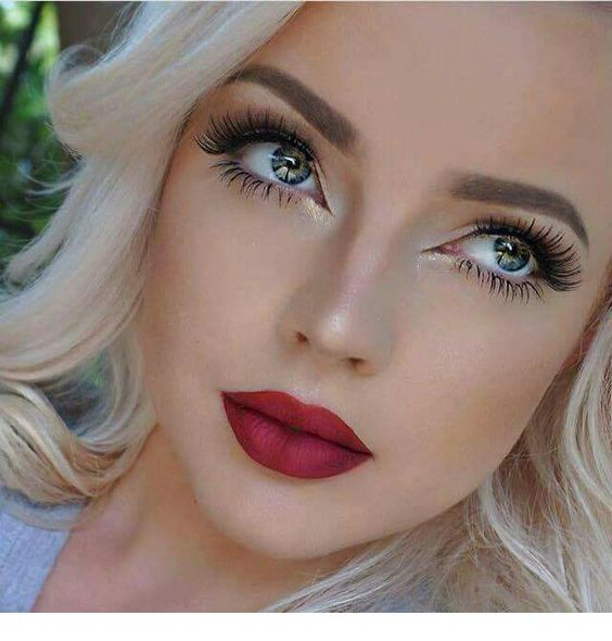 Blue Eyes And Red Lips Miladies Net Blonde Hair Red Lips