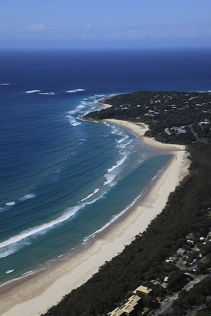 Looking down to Point Lookout and Cylinder Beach - North Stradbroke Island, Queensland, Australia