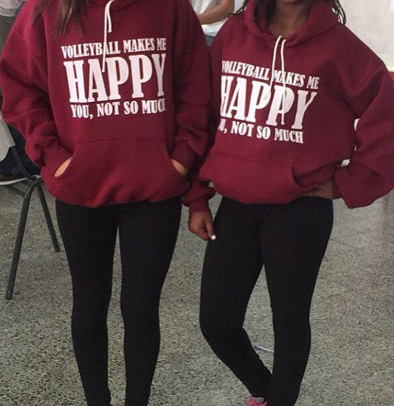 A volleyball makes me happy... Hoodie by vballthings on Etsy