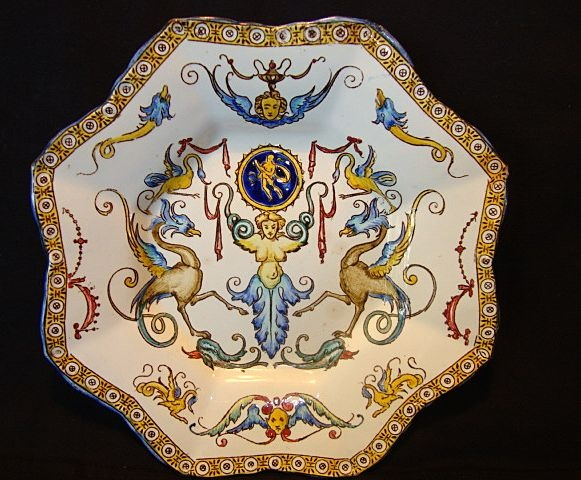 Gien - French Faience Octagon Dish. Decorated with Mythological Creatures. Gien, France. Circa 1860-1871. 9-3/4''.