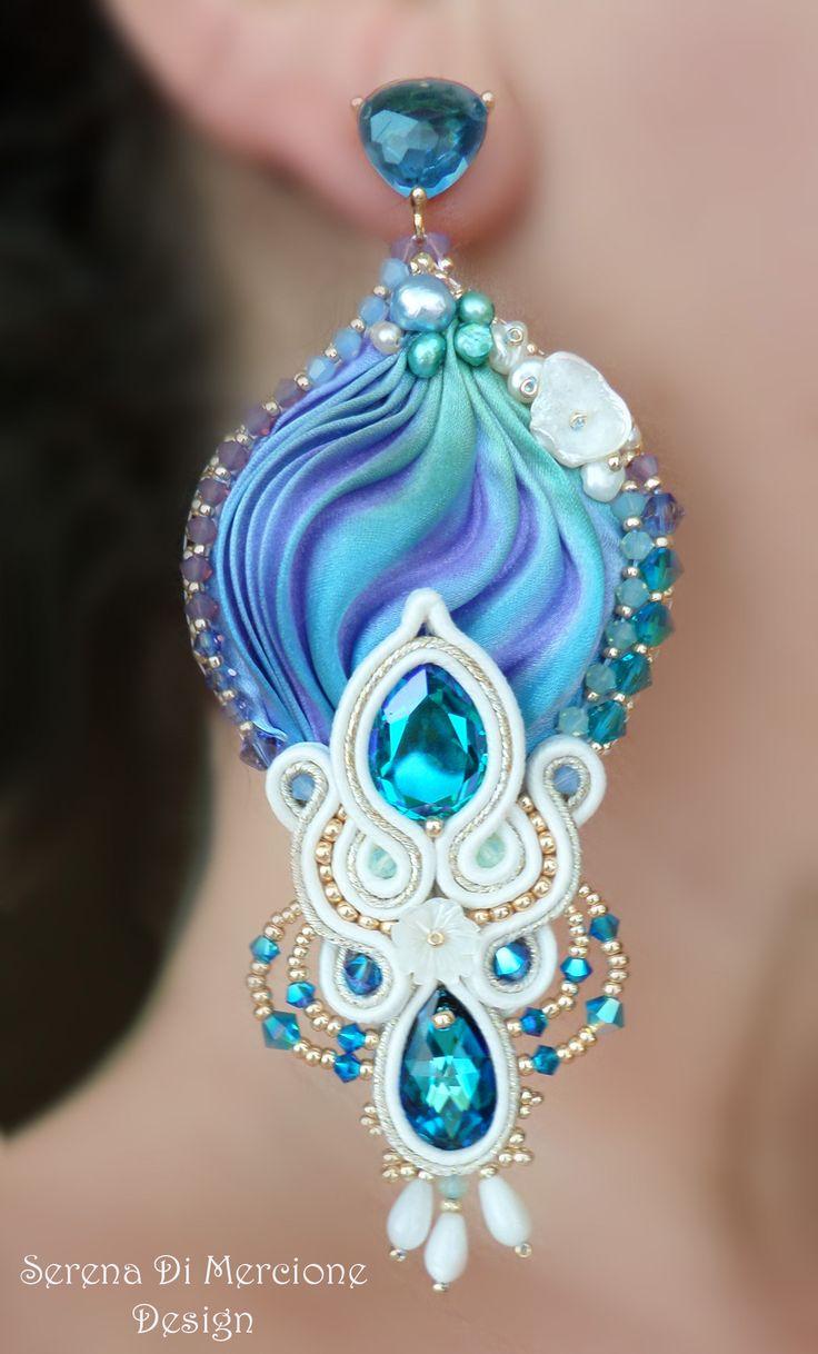 Silk Earrings, designed by Serena Di Mercione. - #shibori #silk #soutache…