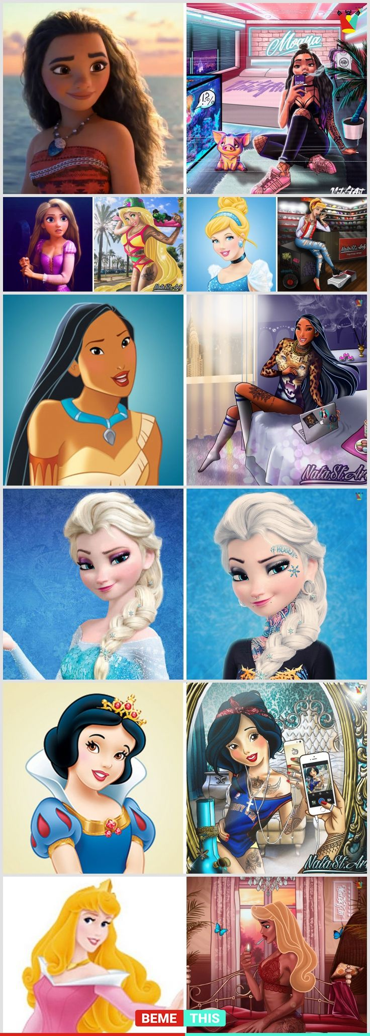 """This is How Famous Disney Princesses Would Look Like as Today's """"Bad"""" Girls #punkprincess #disney #princess #art"""