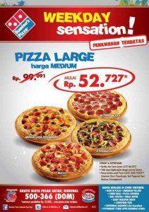 terkini Weekday Sensation di Domino's Pizza, Beli 'Large' Bayar 'Medium'