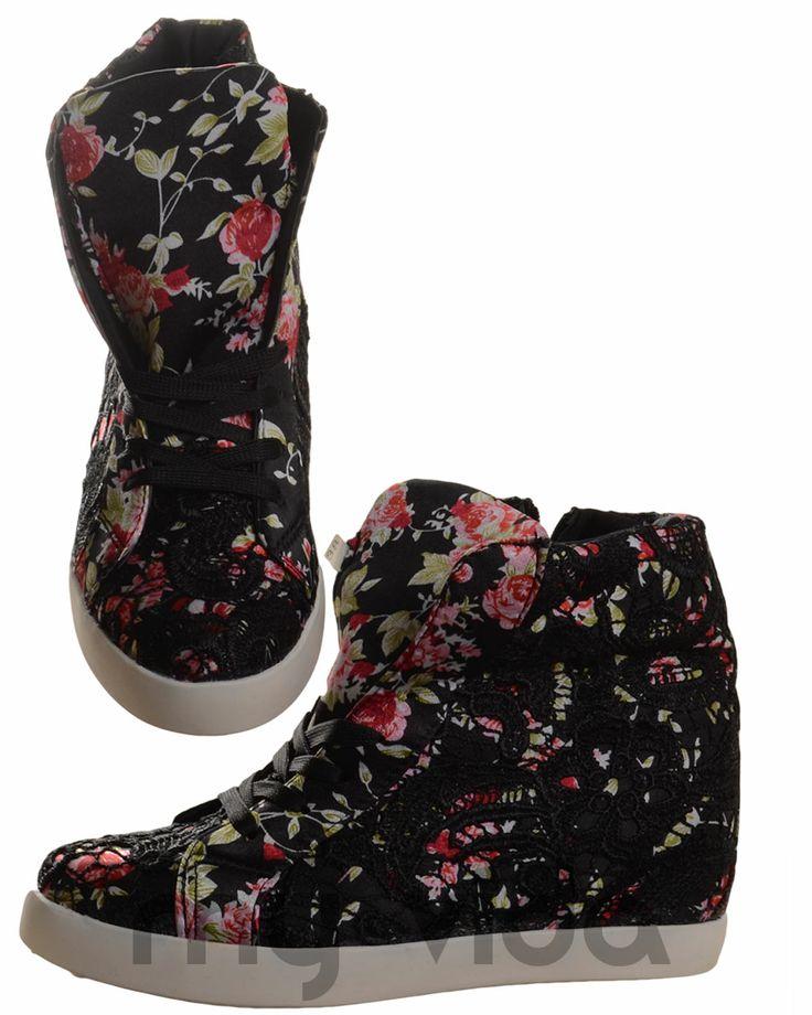 #style #shoes #news #fashion #shoes #LOVE #Wedge #streetstyle  #Sneakers donna #zeppa interna fiori pizzo  ◾ Condizione: Oggetto nuovo, non usato e non indossato, nella confezione originale (scatola o borsa). ◾ Stile: Scarpe da ginnastica ◾ Materiale: Sintetico ◾ Allacciatura: Stringhe e zip laterale ◾ Fantasia: Floreale e pizzo ◾ Tipo di rialzo: Zeppa interna ◾ Altezza rialzo: circa 5,5 cm