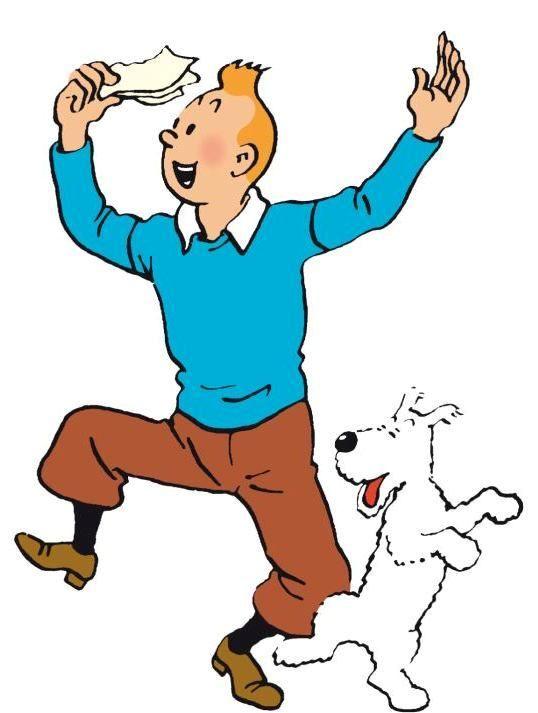 Tintin tient une lettre (?) dans la main (droite). Il vient d'apprendre une bonne nouvelle (?). Tintin et Milou dansent.