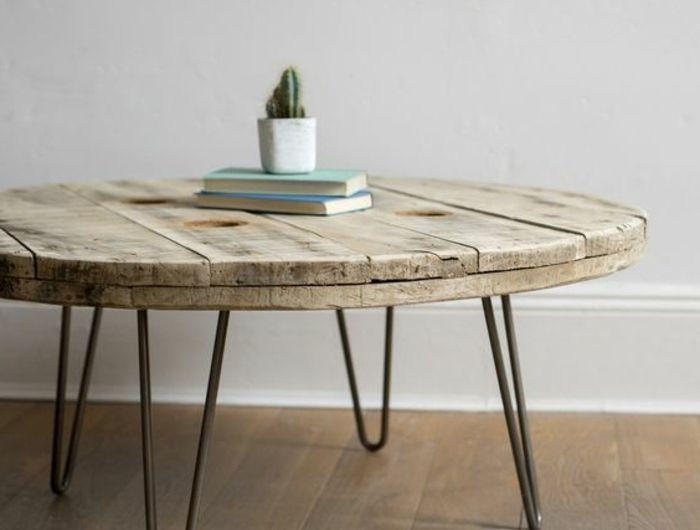 1001 ides astuces brico pour crer une table en touret - Pied Pour Table Basse