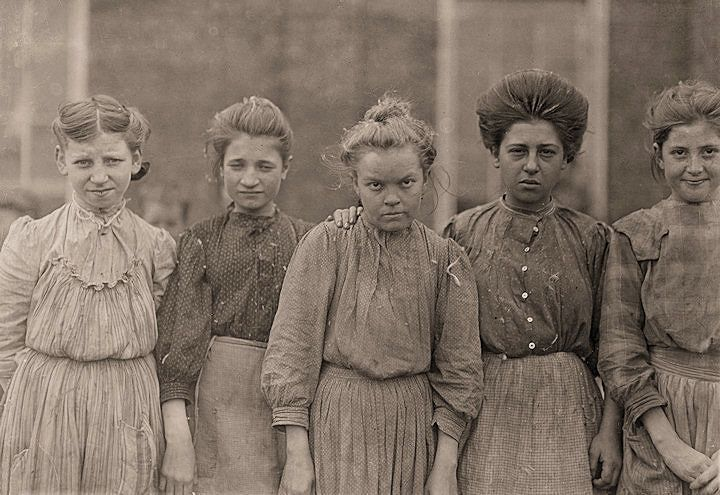 child labor...Faces of Lost Youth: Adolescent girls from Bibb Mfg. Co. in Macon, Georgia.