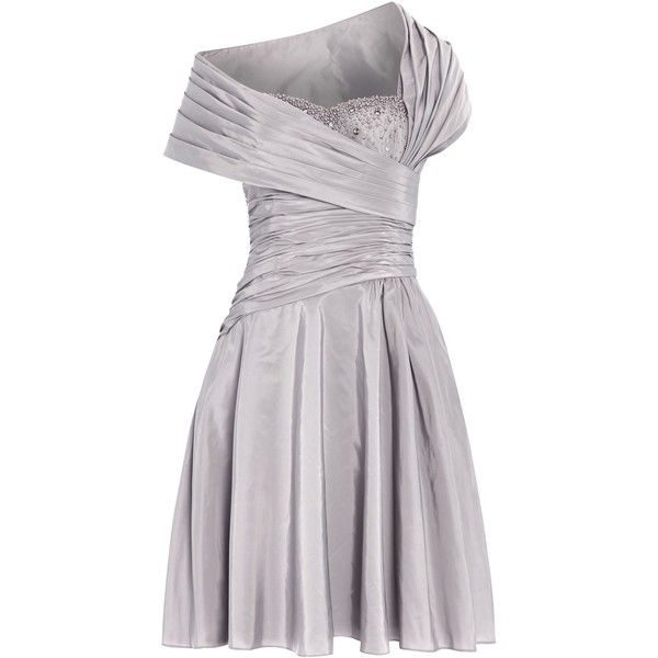 ANOUSHKA G Monica 1950`s gathered dress ($210) ❤ liked on Polyvore featuring dresses, grey, sale, embellished dresses, grey halter dress, halter-neck dress, embellished halter top and ruching dress