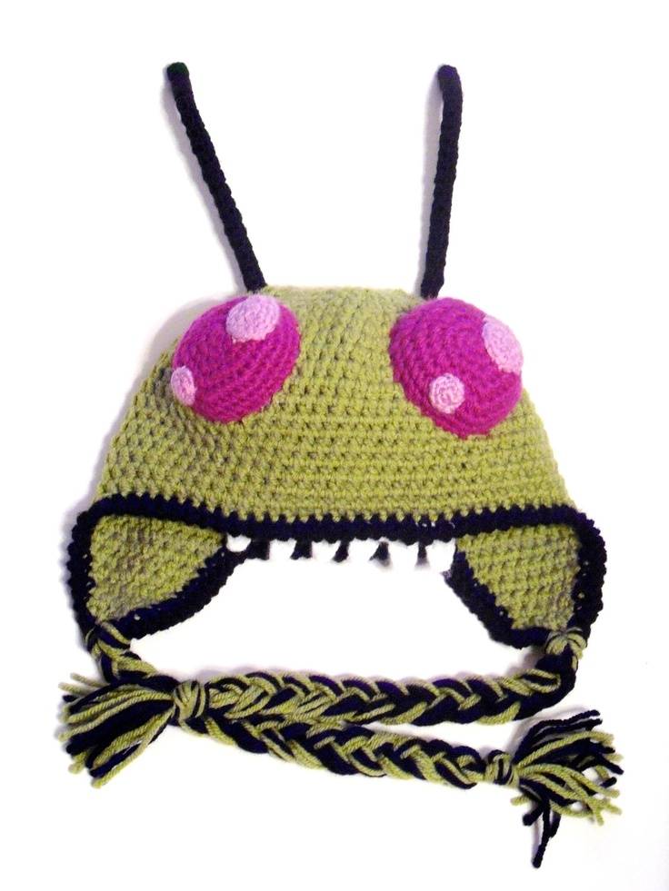 Crochet Invader Zim Patterns : Invader Zim - Crochet Earflap Hat. $30.00, via Etsy.