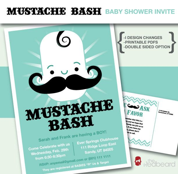 Mustache Bash Baby Boy Shower Invitation (Customizable Printable DIY). $15.00, via Etsy.