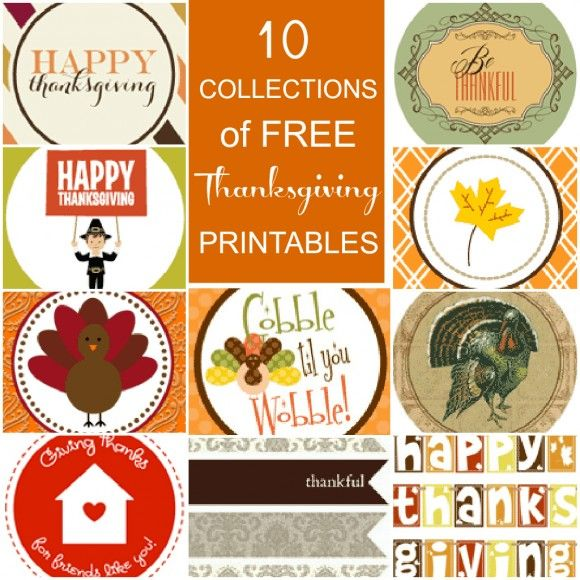 10 Collections of FREE Thanksgiving-printables, decorations, etc.