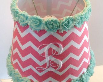 Monogrammed Lamp Shade (Coral Chevron with Mint Green Rose Trim)