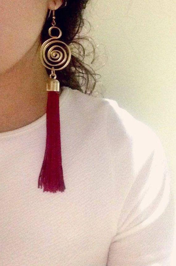 Dangle earrings,tassel earrings,Long Dangle Earrings,Gold dangle,modern Earrings,Wire Wrapped,Crafted Earrings, Dangle & Drop Earrings,hoop