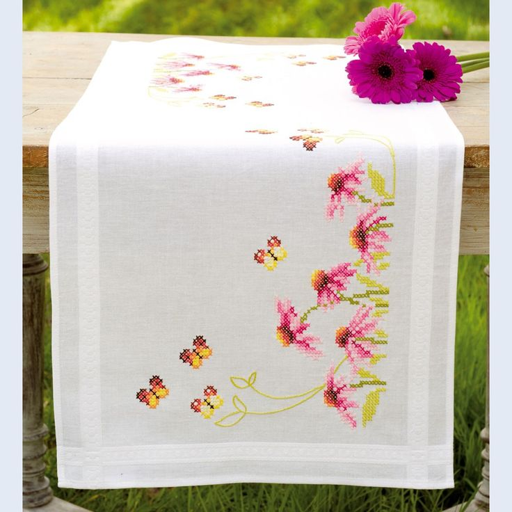 Echinacea and Butterflies - table runner - printed cross stitch kit - Vervaco