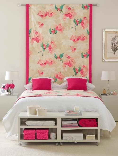 Hang fabric behind bed instead of a headboard home - What to hang over bed ...