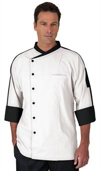 Men's Raglan 3/4 Sleeve Chef Coat - Snap Front Closure - 65/35 Poly/Cotton
