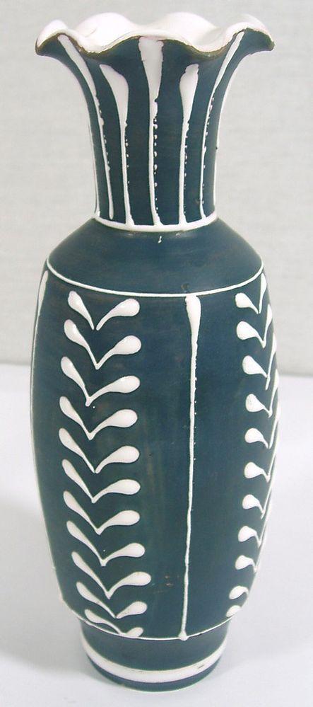 Larholm Norwegian Art Pottery Ceramic Vase-60s Vintage Norway Mid Century Modern
