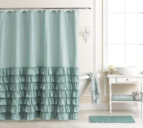 Lc lauren conrad ella ruffle fabric shower curtain blue for Bathroom ideas kohl s