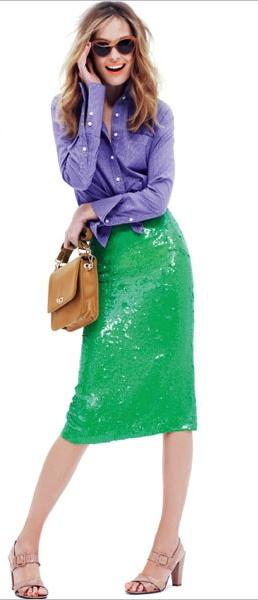 J.Crew Green Sequin Skirt