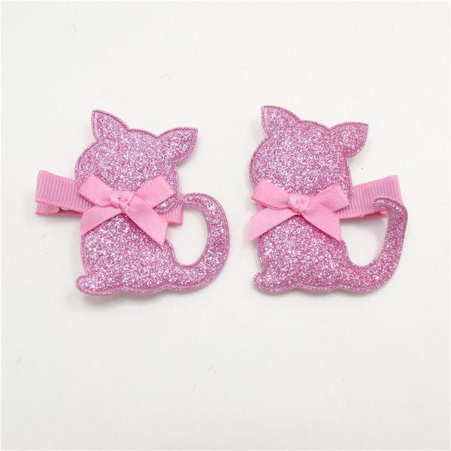 10 par/lote fieltro hechos a mano de gato Clip Pink Glitter Animal adornos para el cabello del niño fiesta de dibujos animados gatito dulce horquilla desgaste de la cabeza