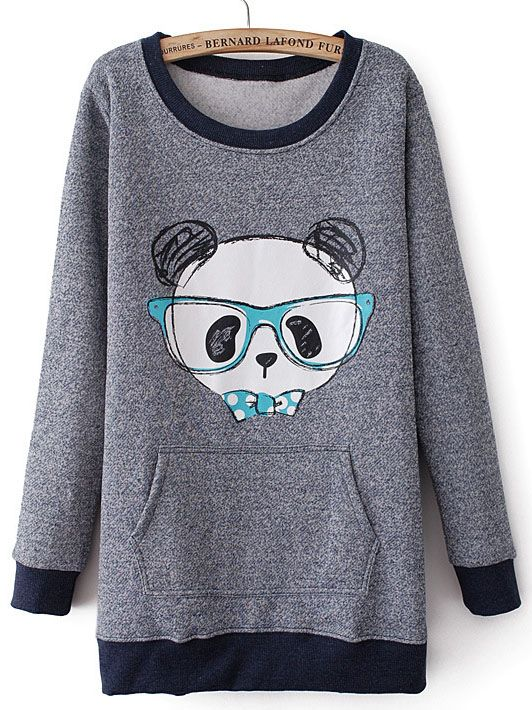 Grey Long Sleeve Glasses Bear Print Sweatshirt US$23.28