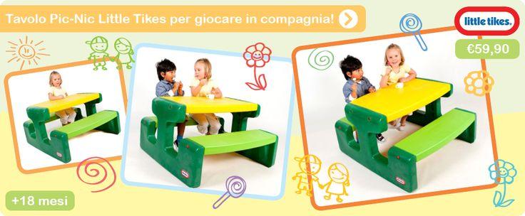 Vietato giocare da soli col Tavolo Pic-Nic di Little Tikes! Da interno o da giardino, i vostri bambini potranno disegnare, colorare, fare merenda comodamente seduti all'aria aperta!