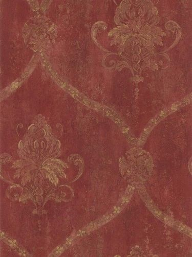 Wallpaper French Red Faux Large Damask with Gold