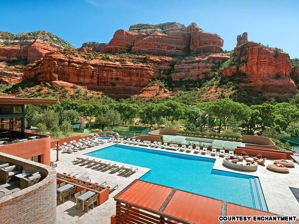 Eye-popping is the best way to describe the 360-degree Red Rock vistas that surround Enchantment's aqua blue watering hole. Recently revamped, the pool and patio have been doubled in size and elevated 10 feet (for better views), and designed to blend into the natural Arizona surroundings